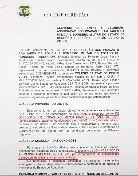 ASSFAPOM FIRMA CONVÊNIO COM O COLÉGIO CRISTÃO