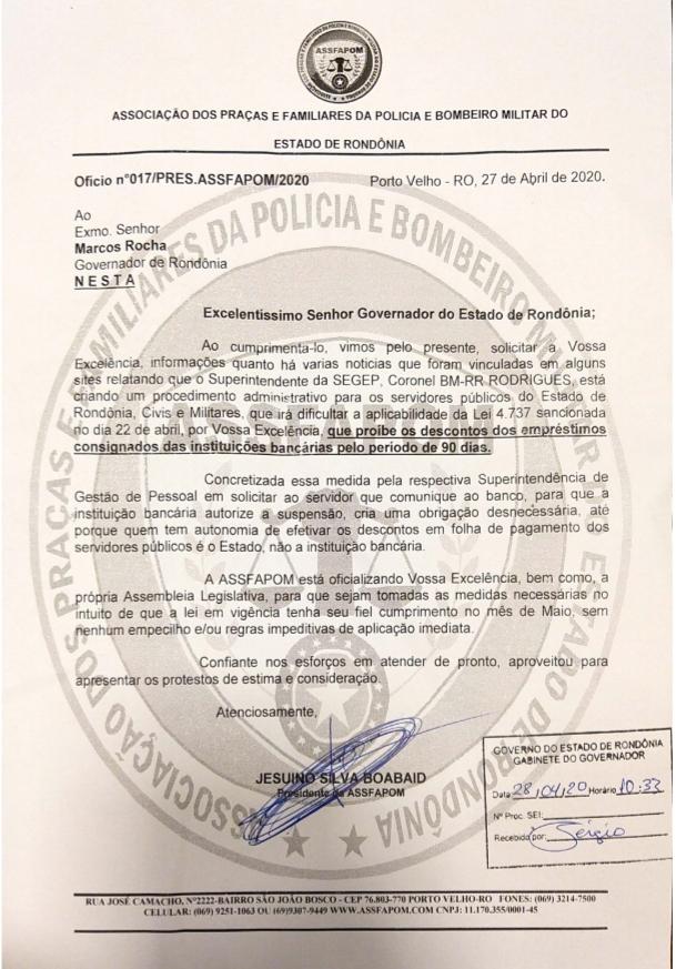 SUSPENSÃO DOS EMPRÉSTIMOS CONSIGNADOS DOS SERVIDORES PÚBLICOS DO ESTADO DE RONDÔNIA