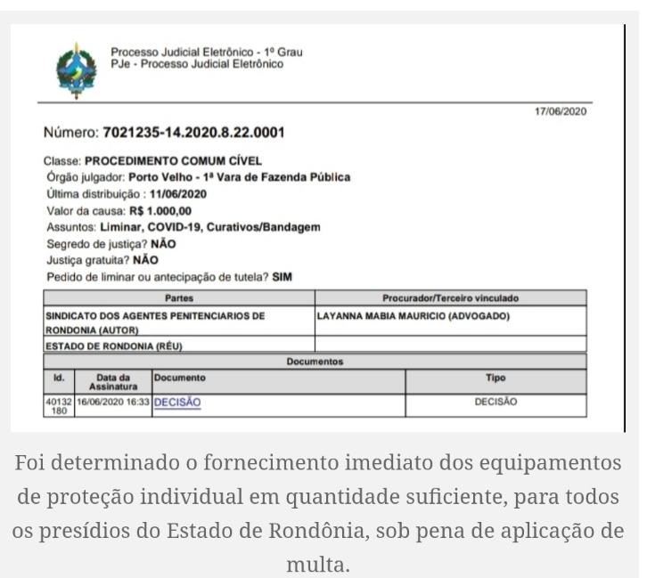 Justiça determina que Estado de RO forneça EPIs e realize testes de COVID-19 em servidores do Sistema Penitenciário e Socioeducativo