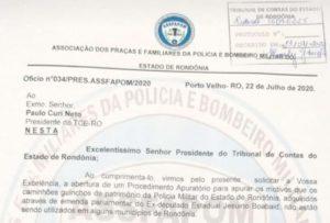 ASSFAPOM encaminha ofício ao TCE solicitando apuração do não uso dos guinchos da PM/RO