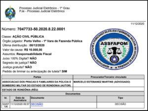 ASSFAPOM ingressa com ACP para que Estado compute o tempo de serviço dos militares